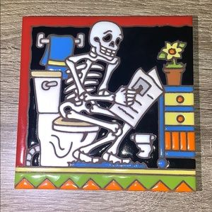 Skeleton tile, Hand & Hand designs,Earthtones,hand